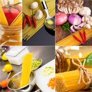 Healthy vegetarian vegan food collage Stock Photos