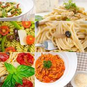 Collection of different type of italian pasta collage Stock Photos