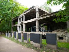 demolished westerplatte barracks - stock photo