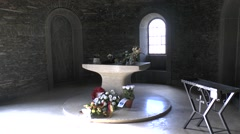 Altar inside the chapel in the Recogne German War Cemetery, Bastogne, Belgium. Stock Footage