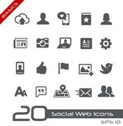 Social Web Icons // Basics Series - stock illustration