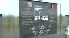 Memorial to the temporary American Cemetery at Recogne, near Bastogne, Belgium. Stock Footage