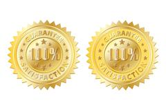 100 guarantee gold with emboss Stock Illustration