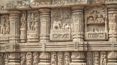 India Konark Sun Temple Beautiful Ancient Erotic Sacred Art Sculptures - stock footage