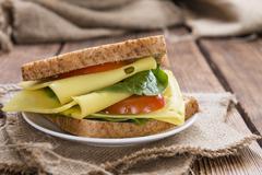 Fresh made cheese sandwich Stock Photos