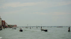 Heavy boat traffic in Venice lagoon Stock Footage