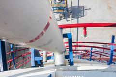 transfer pipe line in factory - stock photo