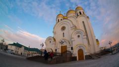 Church of the nativity, krasnoyarsk, time lapse Stock Footage