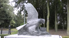 Eagle memorial close to the Mardasson Memorial, Bastogne, Belgium. Stock Footage