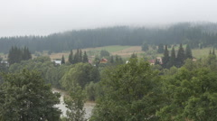 Aerial view forest tree panorama rural village river mountain resort cloudy day  Stock Footage