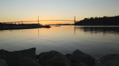 Lions Gate Bridge Sunrise, Vancouver Stock Footage