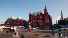 Historical Museum and Christmas Fair. Moscow. Time-Laps - stock footage