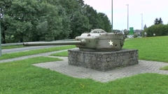 A memorial in the form of a Sherman tank turret, Bastogne, Belgium. Stock Footage