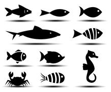 Fish icons Stock Illustration