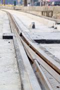 The construction site of new light rail rapid transportation system Stock Photos