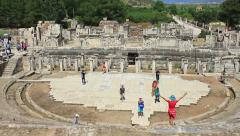 Theater Stage of Ephesus Ancient City Stock Footage