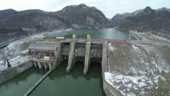 Stock Video Footage of Aerial shot of a hydroelectric power station dam