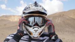Motocross driver wear helmet cu 4K Stock Footage