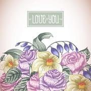 Vintage floral bouquet, botanical greeting card Stock Illustration