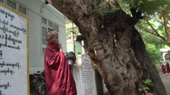 Amarapura, young monks at Mahagandayon monastery Stock Footage