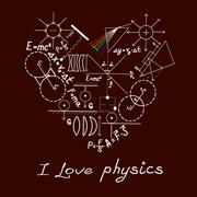 Physics doodles on school squared paper Stock Illustration