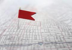 Flag map red Stock Photos