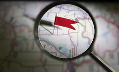 locator pin magnified - stock photo