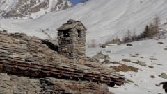 Chimney of alpine chalet Stock Footage