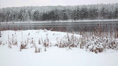 Panorama of beauty snow covered lakeshore with pines trees in snow Stock Footage