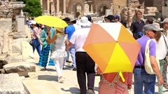 Tourists in ancient city of Ephesus Stock Footage