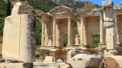 Celcius Library, Ephesus Ancient City in Turkey Stock Footage