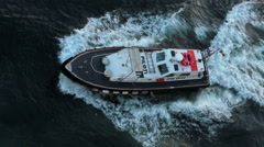 Naples Italy pilot navigation boat depart port HD Stock Footage
