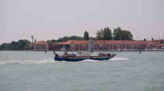 Cargo boat in Venice lagoon Stock Footage