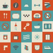 Set of simple hotel icons Stock Illustration
