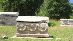 Sarcophagi in Ephesus, Turkey. Panoramic view Stock Footage