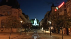 The Victory Monument at night on Avenue de la Victoire, Verdun, France. Stock Footage