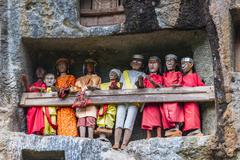 traditional burial site in tana toraja - stock photo