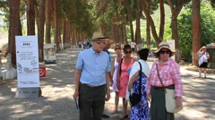 Crowds visit the open air Ancient Ephesus City Stock Footage