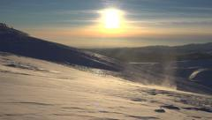 4K Blizzard in Mountains at Sunset, Winter View, Alpine Landscape, Ski Resort Stock Footage