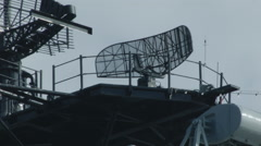 RADAR SPINNING ABOARD WARSHIP.  CLOSE-UP. Stock Footage
