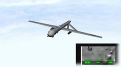 Military Drone Flying w/ Target Footage: Animated + Looping Stock Footage