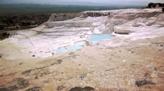 Blue Water Travertine Pools At Pamukkale Stock Footage