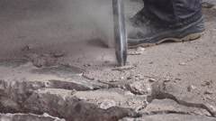 Building demolition jack hammer drill breaking concrete Stock Footage