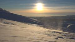 Snow, Winter Scene, Mountain View, Blizzard Sunset, Alpine Landscape, Ski Resort - stock footage