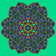 Unusual mandala art - chakra symbol ocer green background Stock Illustration