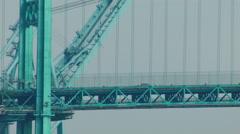 SUSPENSION BRIDGE WITH TRAFFIC Stock Footage