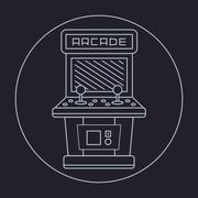 Pixel art style simple line drawing of arcade cabinet isolated vintage white Stock Illustration
