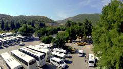 Aerial view of car parking lots at the gate of the museum in Selcuk Stock Footage