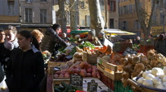 Farmers Market - Aix en Provence France Stock Footage
