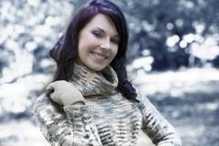 pretty woman outside in winter - stock photo